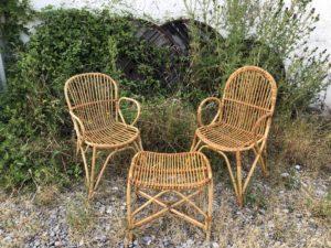 set de rotin vintage, chaises en rotin, fauteuils en rotin