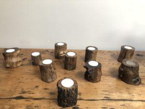 bougeoirs en bois