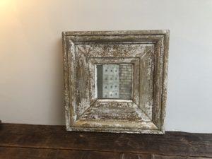 miroir ancien patine blanche
