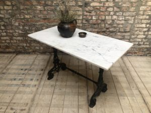 ancienne table bistrot marbre bklanc