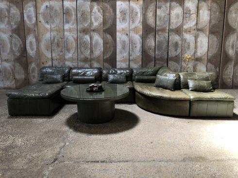 Fauteuil Laauser modulable -canapé vintage en cuir patchwork