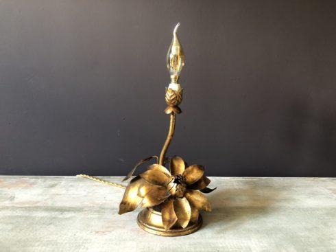 lampe vintage fleur doré