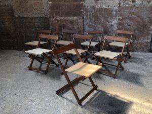 Chaises pliantes style brutaliste bois et lin