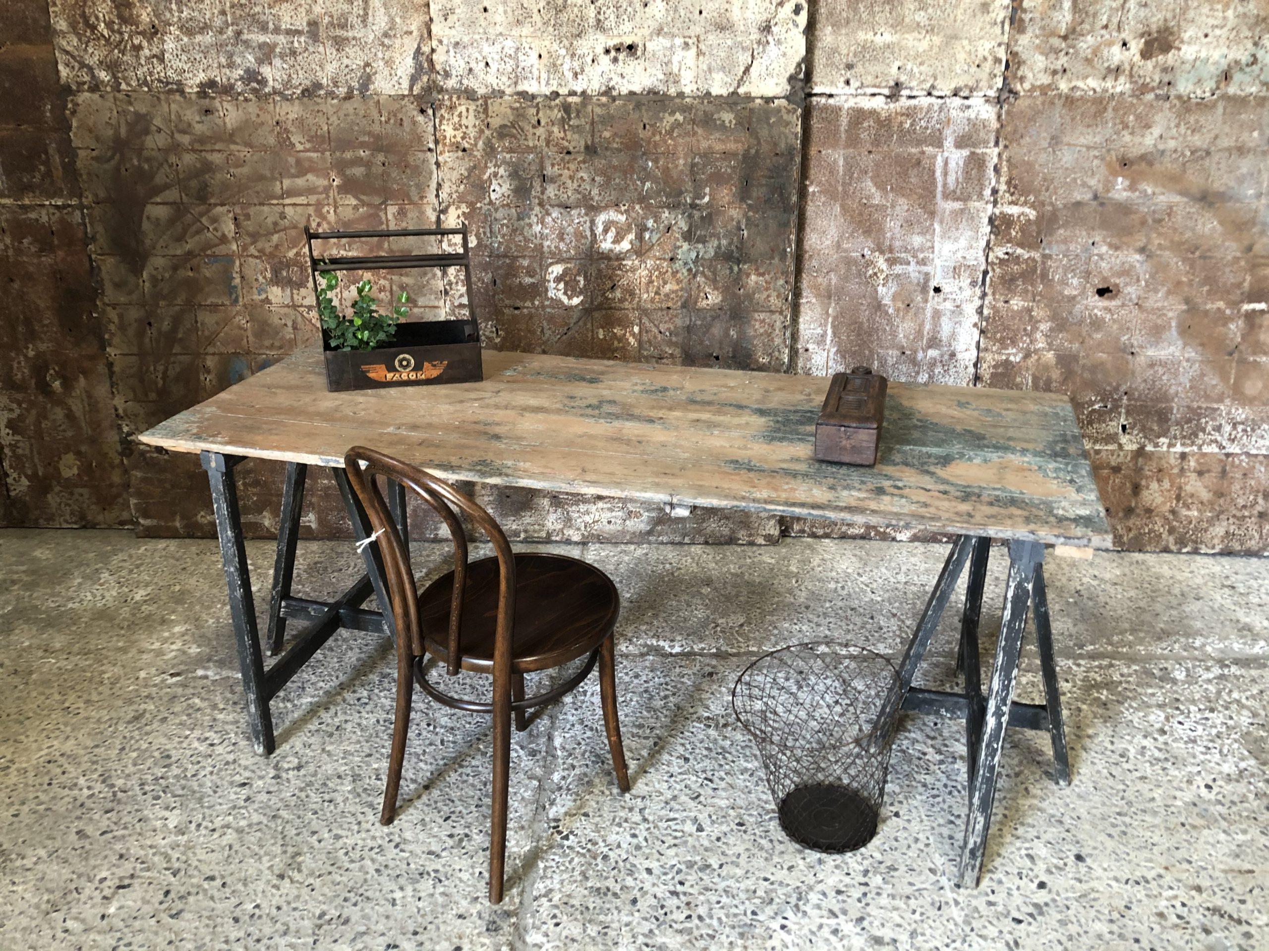 Table- bureau tréteaux patinée