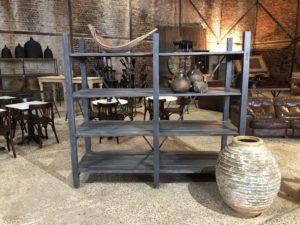 Ancienne étagère de potier en bois - étagère de poterie
