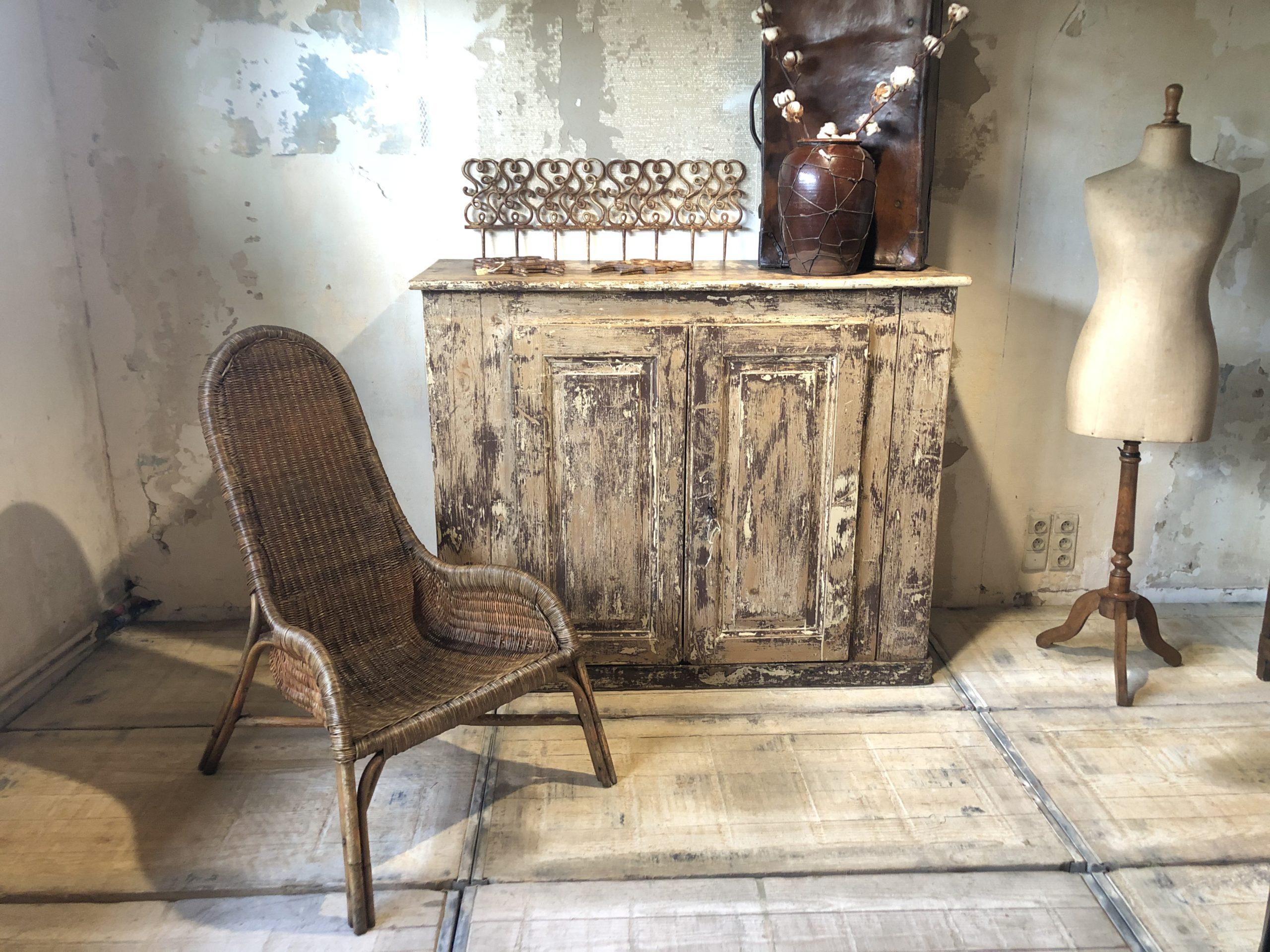 Ancien fauteuil en rotin