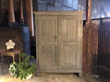 Armoire d'atelier 2 portes - Meuble de métier patine grise