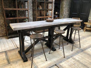 Table haute de bar en bois 6 personnes