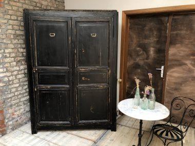 Armoire 2 portes patine noire