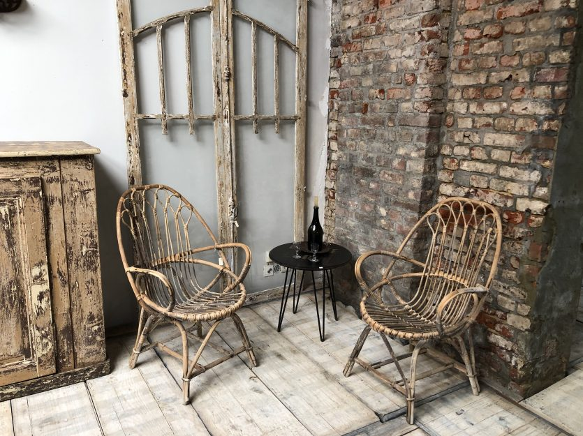 Antique rattan armchair